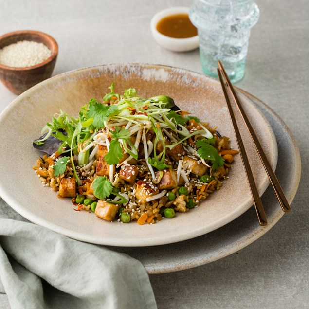 Chinese Ginger Fried Rice with Hoisin Glazed Tofu