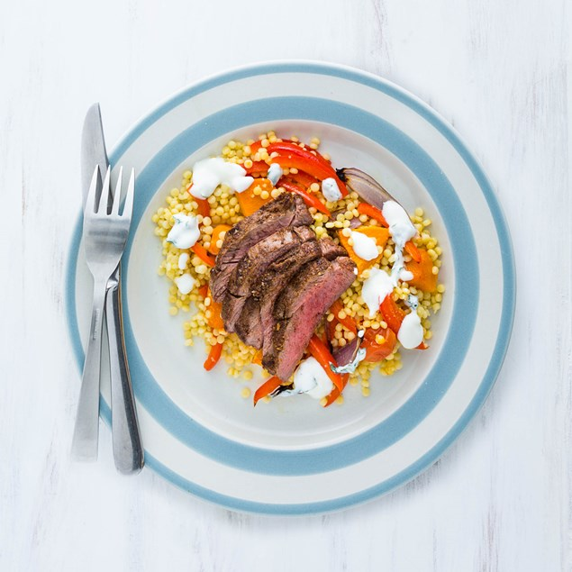 Butterflied Lamb Leg with Pearl Vegetable Couscous
