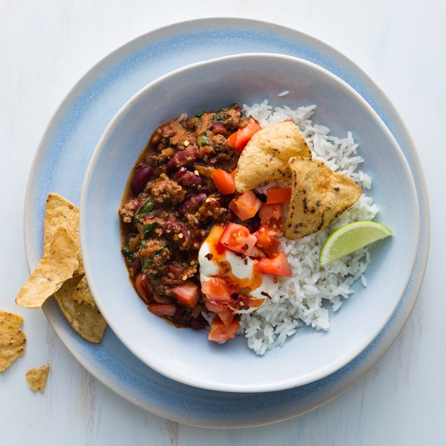Lamb Chilli Con Carne with Rice and Corn Chips