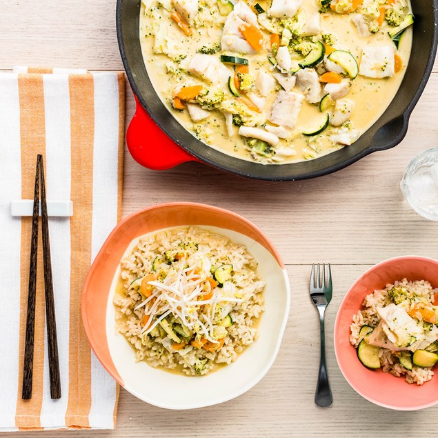 Coconut Fish Laksa with Brown Rice
