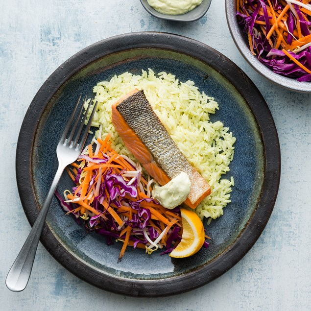 Crispy Salmon with Slaw and Lemongrass Rice