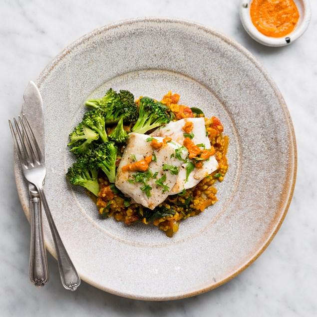 Latin Romesco Fish with Sazon and Tomato Bulgur