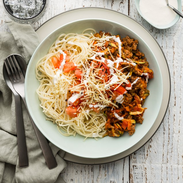 Beef Spaghetti Bolognese with Garlic Cream & Parmesan