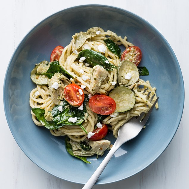 Fresh Spaghetti with Courgette, Artichoke and Goats Cheese
