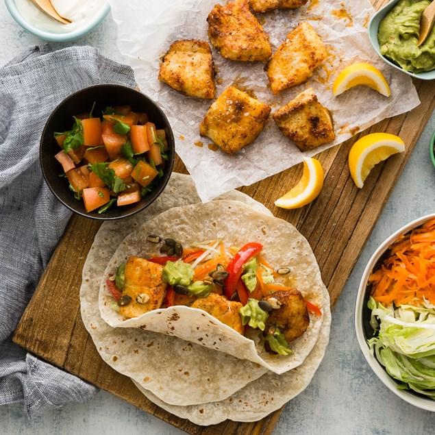 Fish Tacos with Tomato Fresca and Guacamole