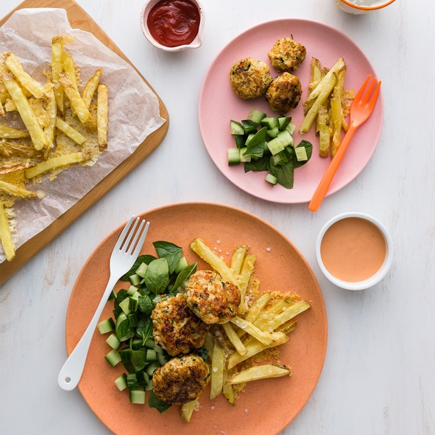 Turkey Rissoles with Cheesy Oven Fries