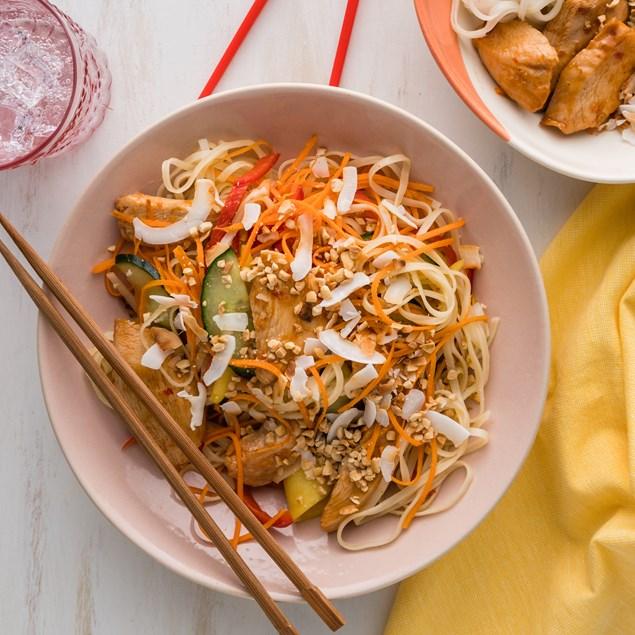Vietnamese Chicken Noodle Salad with Mango & Coconut