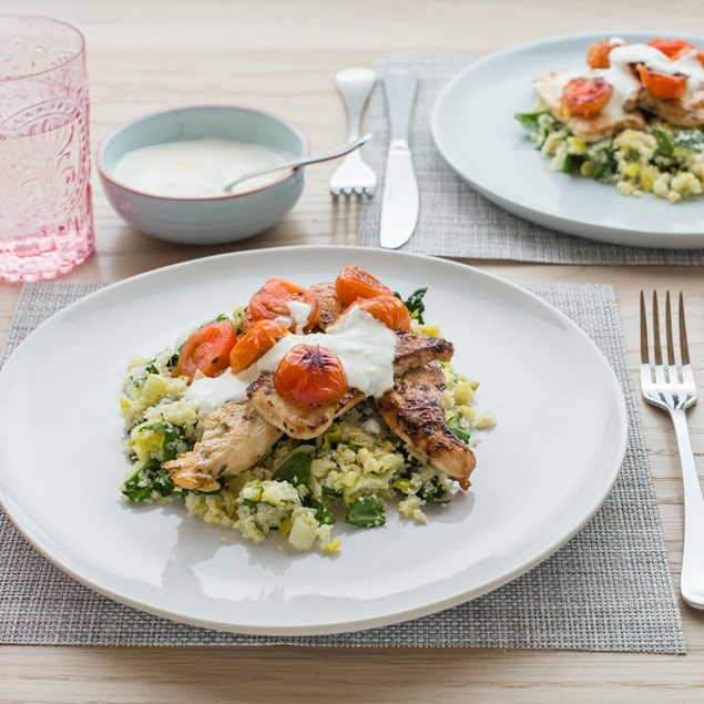 Tarragon Chicken with Lemon, Spinach and Leek Bulgur