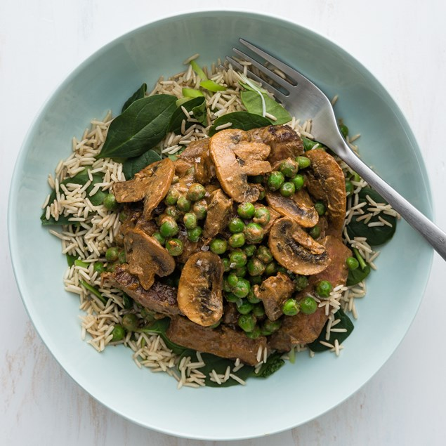 Beef Stroganoff with Brown Spinach Rice