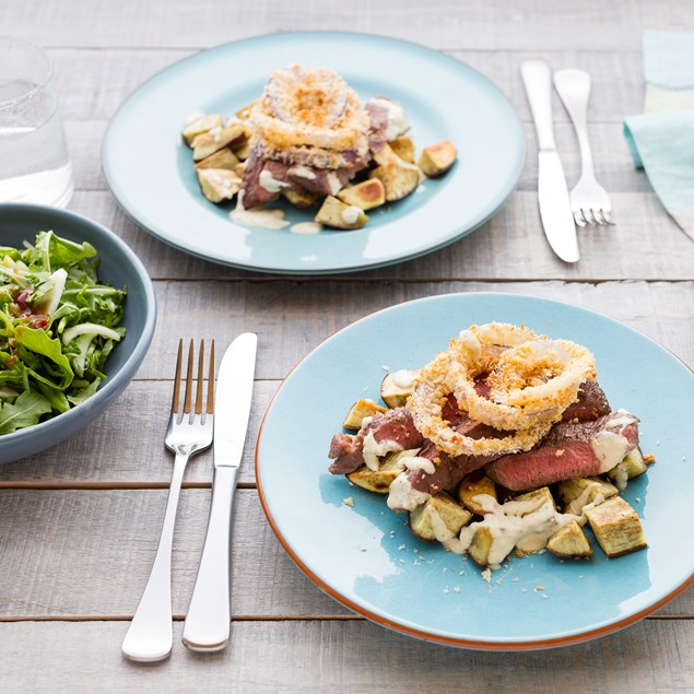 Beef Rump with Onion Rings and Bok Choy Salad