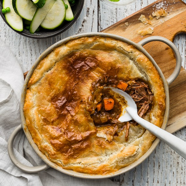 Beef Bourguignon Pie with Buttered Veggies