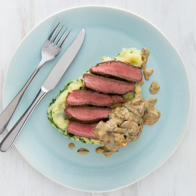 Beef Rump Steak with Mashed Potatoes and Creamy Sauce