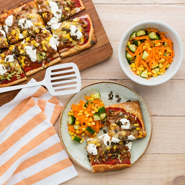Mexican Pizzas with Carrot Salad