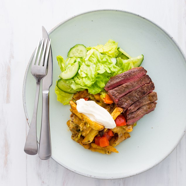 Beef Steak with Loaded Fries and Salad