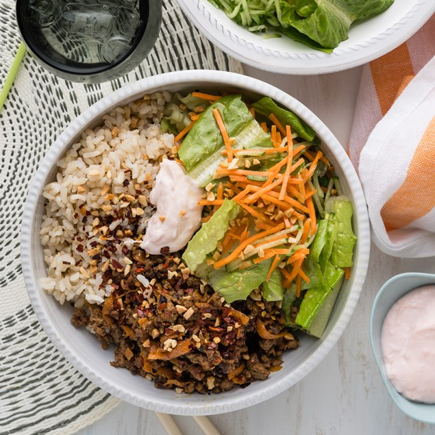 Japanese Sticky Beef Bowls with Cucumber Sticks & Pink Mayo