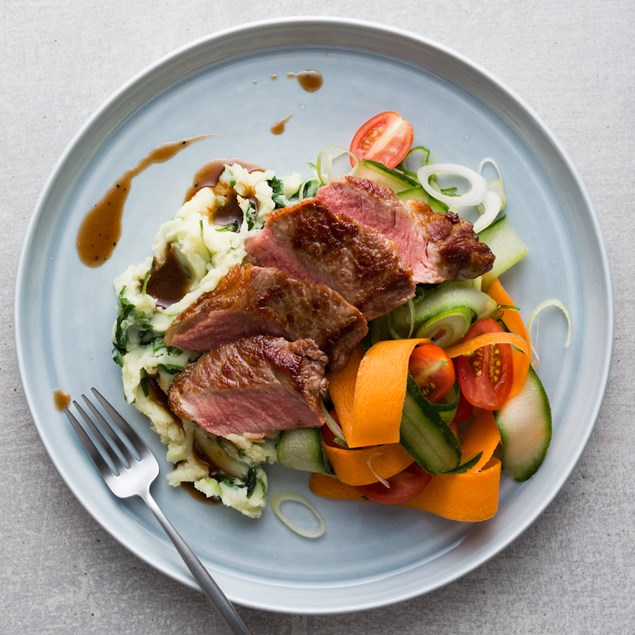 Beef Sirloin with Colcannon Potato and Shaved Carrot Salad