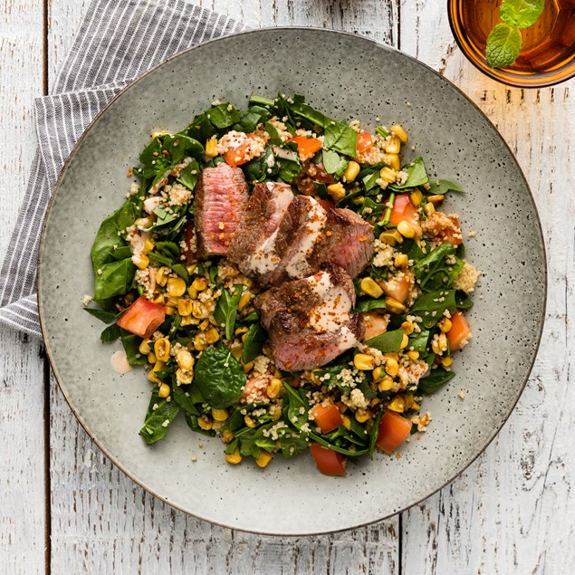 Chipotle Lamb Steaks with Southern Charred Corn Salad