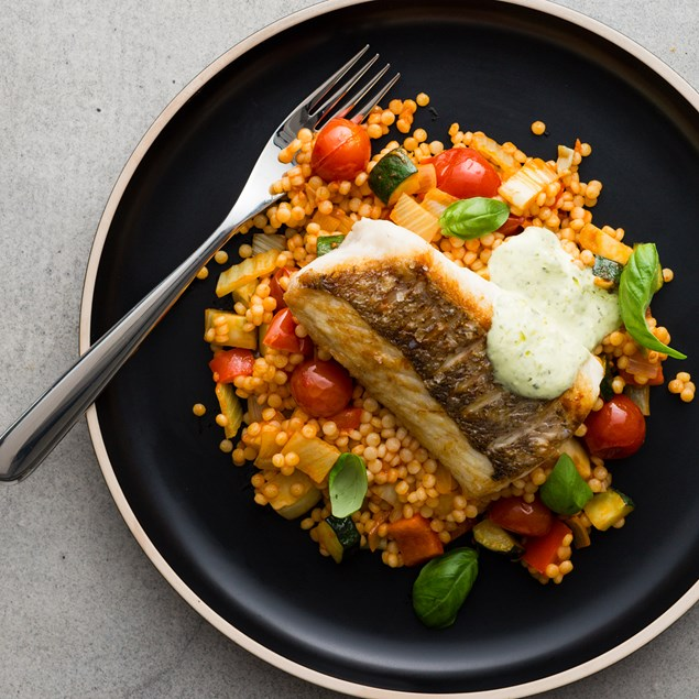Crispy Skin Fish with Ratatouille and Pearl Couscous