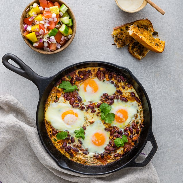 South American Eggs with Chilli Beans and Chimichurri Ciabatta
