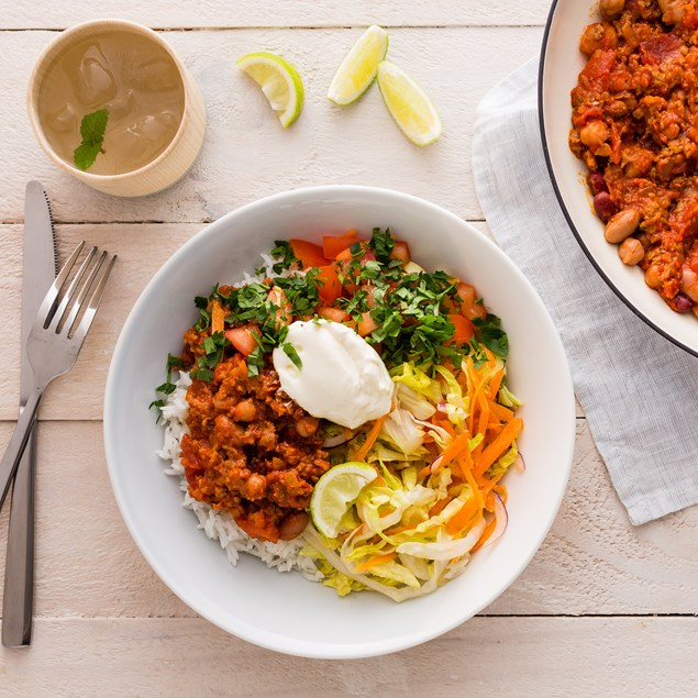 Chorizo and Mixed Bean Chilli with Sour Cream