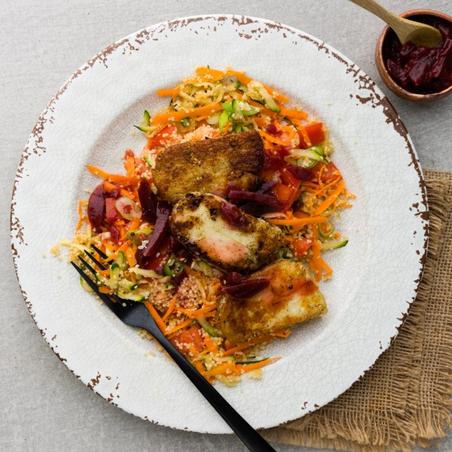 Spiced Haloumi with Couscous and Beetroot Relish