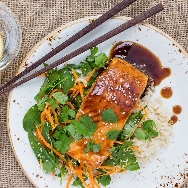 Teriyaki Salmon with Brown Rice and Sesame Spinach Slaw