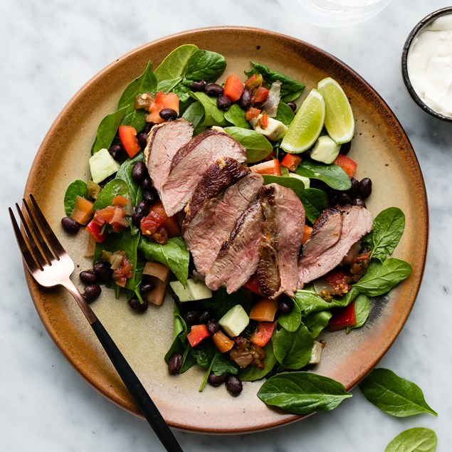 Mexican Lamb Leg Steaks with Avocado Salad and Red Mexican Sauce