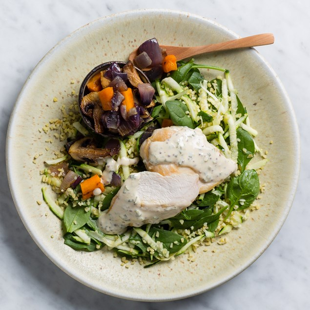 Chive & Mustard Chicken with Roast Vegetables and Bulgur Salad