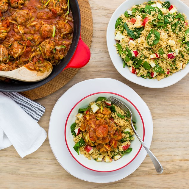 Toulouse Pork Meatballs with Couscous and Spinach Salad