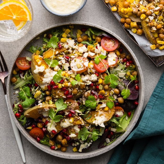 Roasted Pumpkin & Pomegranate Salad with Corn Aioli