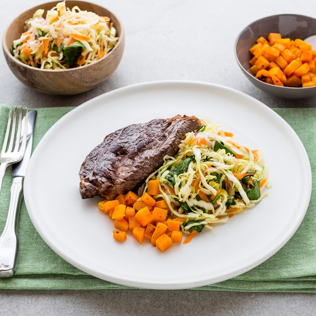 Beef Scotch Fillet with Asian Cabbage Slaw and Roast Pumpkin