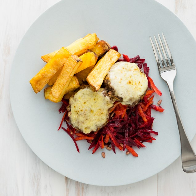 Naked Beef Burgers with Beetroot Salad and Chunky Chips