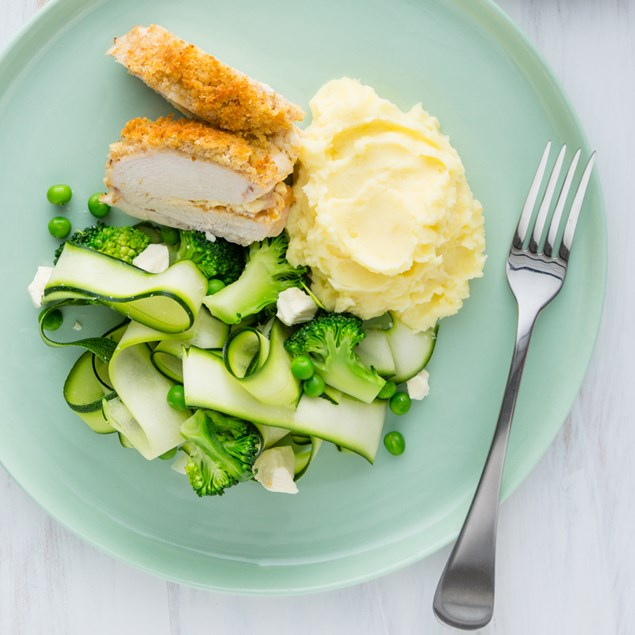 Apricot and Feta-stuffed Chicken Breasts with Mashed Potatoes