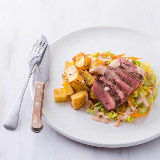 Beef Sirloin with Garlic Salt Potato Bites and Chipotle Mayo