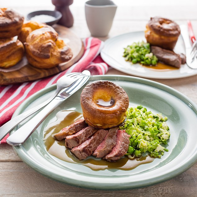 Beef Sirloin Steak with Yorkshire Puddings and Gravy