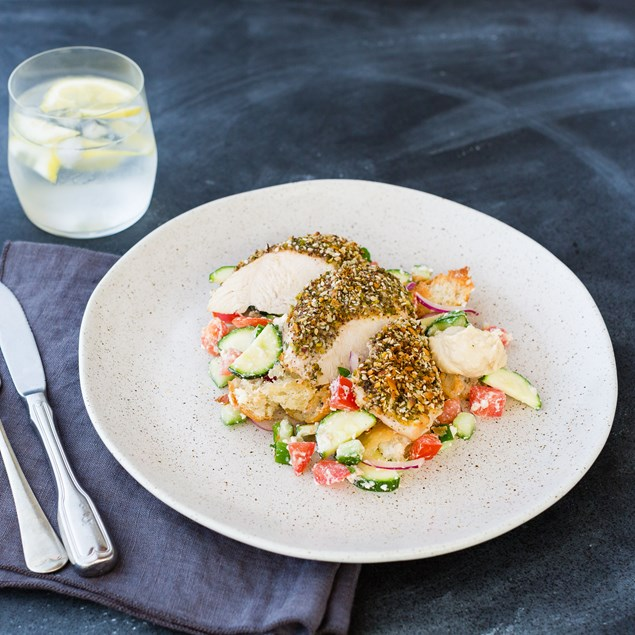Pistachio Crusted Chicken with Greek Salad