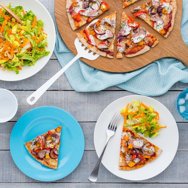 Lamb Pizzas with Minty Drizzle and Salad
