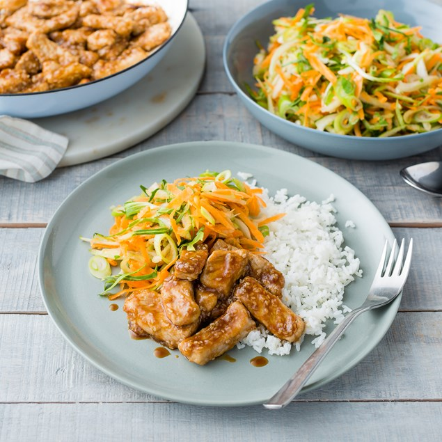 Hoisin-Glazed Pork with Asian Apple Slaw and Sesame Rice