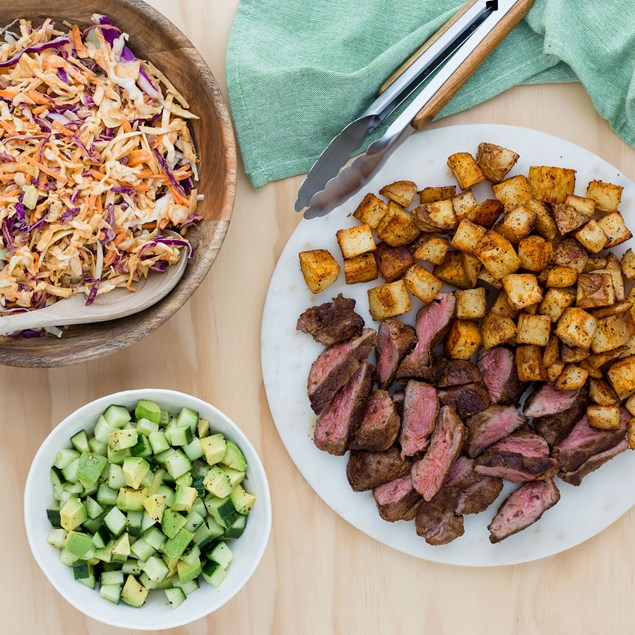 Mexican Lamb with Avocado Salsa and Chipotle Slaw