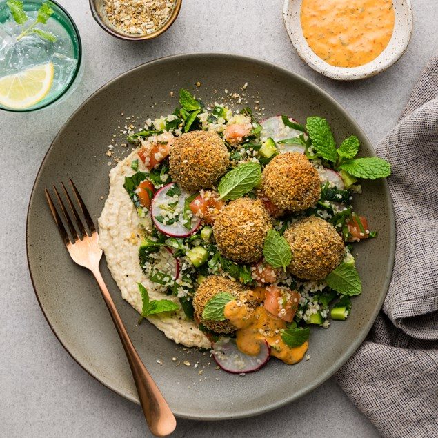 Almond Crusted Falafel with Tabbouleh & Eggplant Aioli