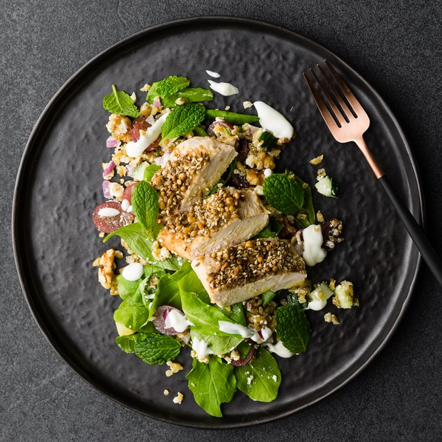 Dukkah Crusted Chicken with Grape Freekeh Salad