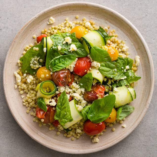 Warm Mediterranean Salad with Pearl Couscous and Pesto