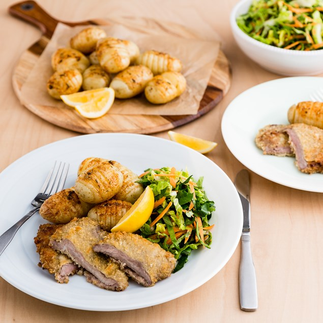 Beef Schnitzel with Hasselback Potatoes and Crunchy Salad