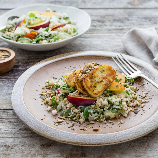 Chermoula-Spiced Haloumi with Cauliflower and Freekeh Salad