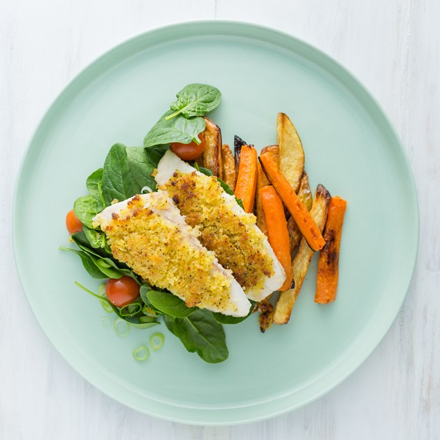 Lemon Pepper Crumbed Fish with Veggie Chips and Spinach Salad