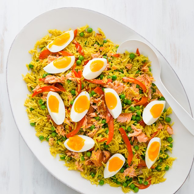 Hot Smoked Salmon Kedgeree with Boiled Eggs