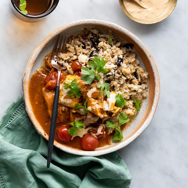 Fish Tagine with Cauliflower Couscous