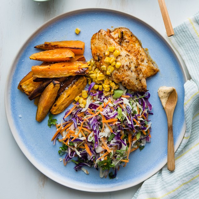 Cajun Fish with Kumara Wedges and Red Chimichurri Slaw
