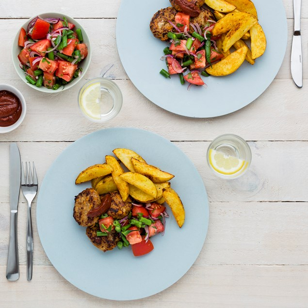Lamb and Cheese Rissoles with Tomato Salad and Wedges