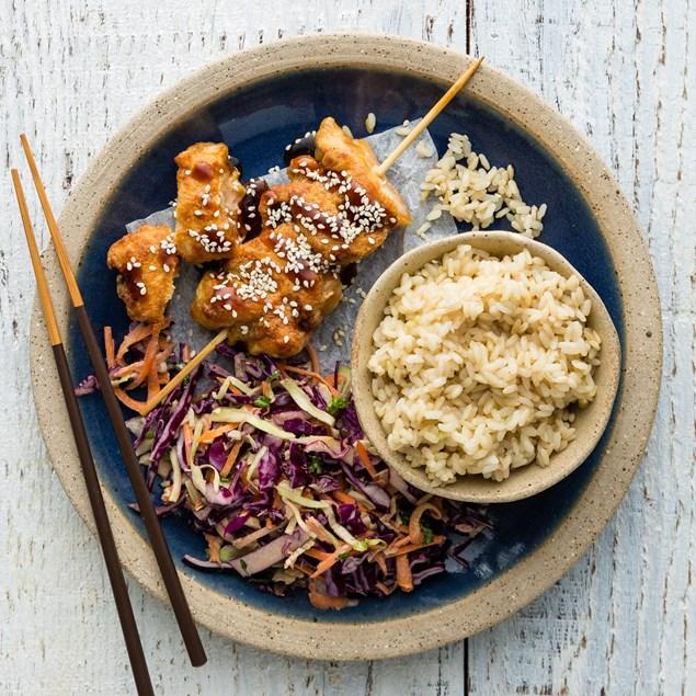 Karaage Chicken Skewers with Rice and Katsu Sauce
